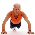 A senior doing pushups for vibrant health